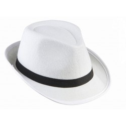 Sombrero de Gangster. Fieltro Blanco.