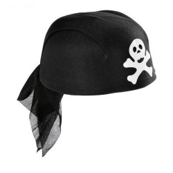 Gorro cascote de Pirata.Negro