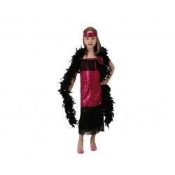 Disfraz de Charlestón rosa de lentejuelas.Talla 10-12