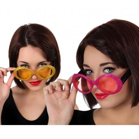 Gafas de pasta Purpurina.años 60, colores.