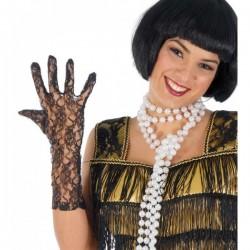 Par de guantes Encaje Negro 36 cm.
