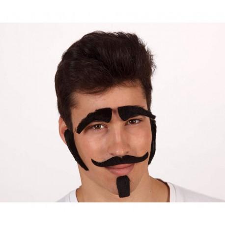 Set de cejas, bigote, patillas y perilla negra
