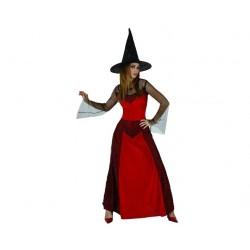 Disfraz de Bruja Rojo con Transparencias.Talla M-L.