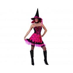 Disfraz de Bruja Rosa Arañas.Talla  XX-L