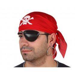 Set Pirata. Pañuelo rojo, parche y pendiente