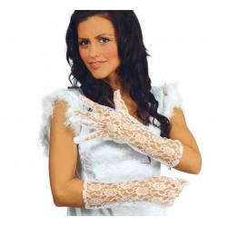 Par de guantes Encaje blancos 36 cm.