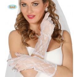 guantes Encaje blancos 36 cm.