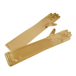 Guantes largo de color dorado,44cm.