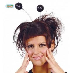 Antena de Bolas con purpurina  negras