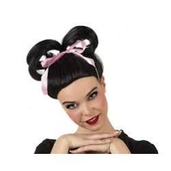 Peluca de Geisha con lazo rosa