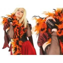 Boa plumas,mixta: Naranja y Negra