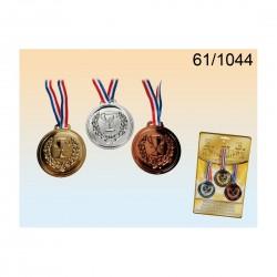 3 Medallas de plástico,Oro-Bronce-Plata