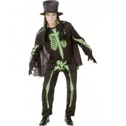 Disfraz de Esqueleto Verde.Halloween.Talla Unica
