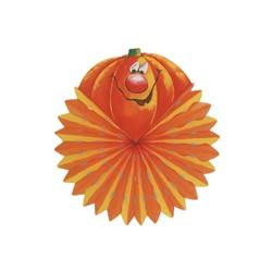 Rosetón calabaza abanico,colgar 46x51-Decoración Halloween