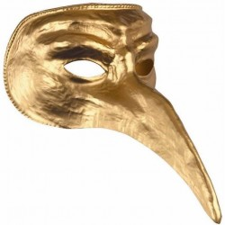 Antifaz-Mascara Veneciana,nariz Larga. Oro