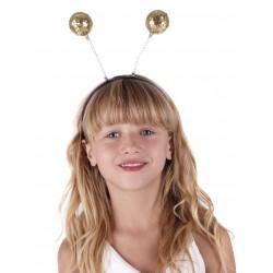 Antenas de Bolas purpurina oro