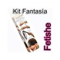 Kit Lover's Fantasy,compuesto por esposas, látigo negro y máscara negra