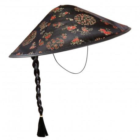 Sombrero-Gorro Chino Seda  Negro,con trenza