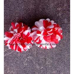 Flor-Clavel doble ,Bicolor roja y blanca