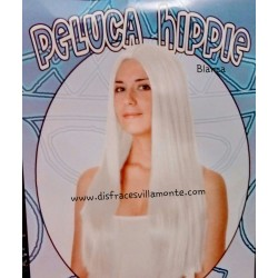 Peluca Hippie Blanca, Lisa Larga.