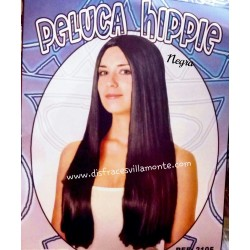 Peluca  Hippie Lisa Larga.color Negra,sin flequillo