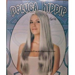 Peluca  Hippie Lisa Larga.color Gris,sin flequillo
