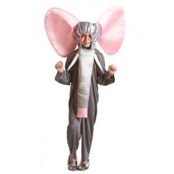 Disfraz de elefante con capucha ,Animales-Unisex..talla 6-7