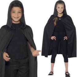 Capa negra y larga con capucha, infantil..Unisex