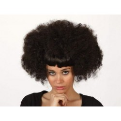 Peluca Negra Rizada con Flequillo Liso.Afro