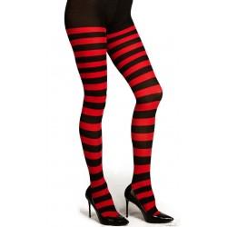 Medias Panty,rayas rojas y negras..talla única