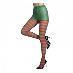 Medias Panty,rayas rojas y verde..talla única