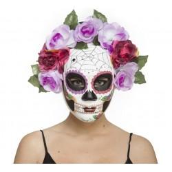 Mascara-Careta Día de Los Muertos ,Catrina con Telarañas y Flores rosa