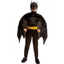 Disfraz Batman o Black Man ,superheroe-musculado,talla 3-4