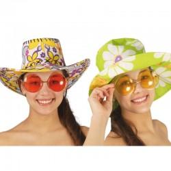 Gafas de Sol Años 60 Rosa purpurina y cristal .15 x 7 cm